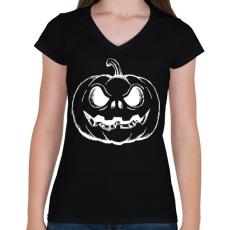 PRINTFASHION Halloween tök - Női V-nyakú póló - Fekete