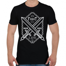 PRINTFASHION Harc az élet - Férfi póló - Fekete