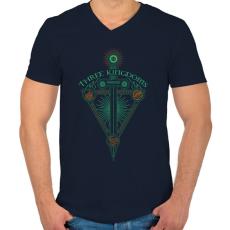 PRINTFASHION Három királyság - Férfi V-nyakú póló - Sötétkék