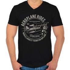 PRINTFASHION Három motoros repülőgép - Férfi V-nyakú póló - Fekete