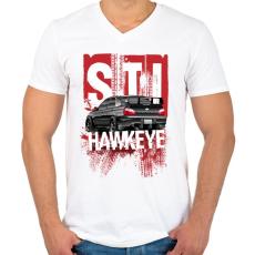 PRINTFASHION Hawkeye STI - Férfi V-nyakú póló - Fehér