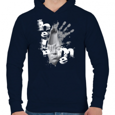 PRINTFASHION helpmeprojectwh-01 - Férfi kapucnis pulóver - Sötétkék