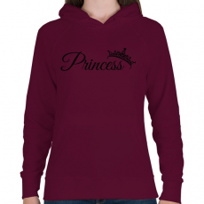 PRINTFASHION Hercegnő - Női kapucnis pulóver - Bordó