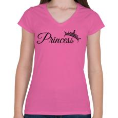PRINTFASHION Hercegnő - Női V-nyakú póló - Rózsaszín