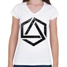 PRINTFASHION Hexagonal 3 - Női V-nyakú póló - Fehér