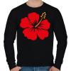 PRINTFASHION Hibiscus - Férfi pulóver - Fekete