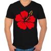 PRINTFASHION Hibiscus - Férfi V-nyakú póló - Fekete
