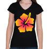 PRINTFASHION Hibiscus - Női V-nyakú póló - Fekete