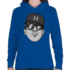 PRINTFASHION HipHop - Női kapucnis pulóver - Királykék