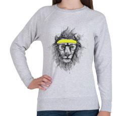PRINTFASHION Hipster lion - Női pulóver - Sport szürke