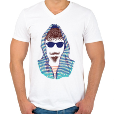 PRINTFASHION Hipszter - Férfi V-nyakú póló - Fehér