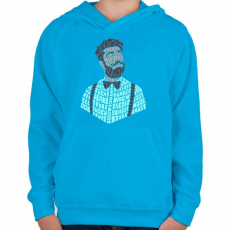 PRINTFASHION Hipszter - Gyerek kapucnis pulóver - Azúrkék