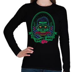 PRINTFASHION Hipszter zombi - Női hosszú ujjú póló - Fekete