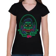 PRINTFASHION Hipszter zombi - Női V-nyakú póló - Fekete