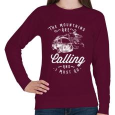 PRINTFASHION Hívnak a hegyek  - Női pulóver - Bordó