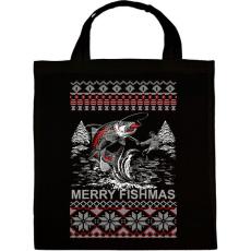 PRINTFASHION Horgász karácsony - Vászontáska - Fekete