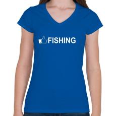 PRINTFASHION Horgász like - Női V-nyakú póló - Királykék