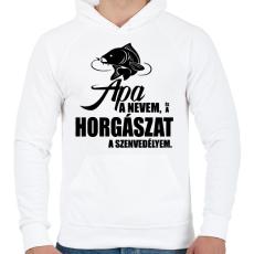 PRINTFASHION Horgász szenvedély - Férfi kapucnis pulóver - Fehér