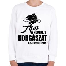PRINTFASHION Horgász szenvedély - Gyerek pulóver - Fehér