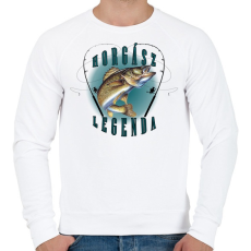 PRINTFASHION Horgászlegenda - Férfi pulóver - Fehér