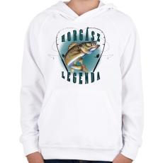PRINTFASHION Horgászlegenda - Gyerek kapucnis pulóver - Fehér