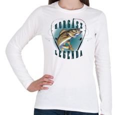 PRINTFASHION Horgászlegenda - Női hosszú ujjú póló - Fehér