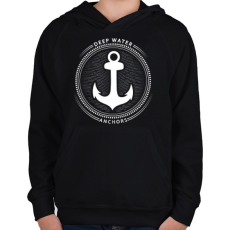 PRINTFASHION Horgony - Gyerek kapucnis pulóver - Fekete