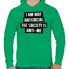 PRINTFASHION I am not antisocial... - Férfi kapucnis pulóver - Zöld