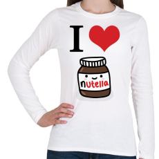 PRINTFASHION I love nutella - Női hosszú ujjú póló - Fehér