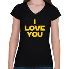 PRINTFASHION I LOVE YOU - Női V-nyakú póló - Fekete