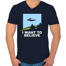 PRINTFASHION i want to believe - Férfi V-nyakú póló - Sötétkék