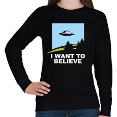 PRINTFASHION i want to believe - Női pulóver - Fekete