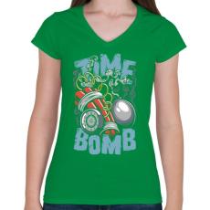 PRINTFASHION Időbomba - Női V-nyakú póló - Zöld