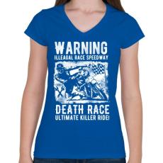 PRINTFASHION Illegális futam  - Női V-nyakú póló - Királykék
