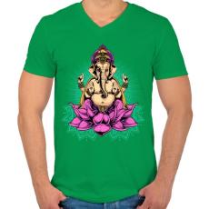 PRINTFASHION Indiai istenség - Férfi V-nyakú póló - Zöld