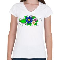 PRINTFASHION Indiai virág - Női V-nyakú póló - Fehér