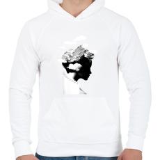 PRINTFASHION It's a cloudy day - Férfi kapucnis pulóver - Fehér