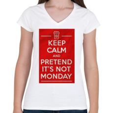 PRINTFASHION It's not monday - Női V-nyakú póló - Fehér