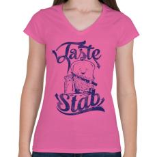 PRINTFASHION Ízletes - Női V-nyakú póló - Rózsaszín