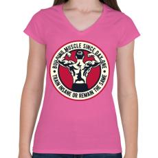 PRINTFASHION Izomerő - Női V-nyakú póló - Rózsaszín