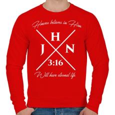 PRINTFASHION János 3:16 - Férfi pulóver - Piros