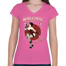 PRINTFASHION Kabaré - Női V-nyakú póló - Rózsaszín