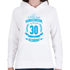 PRINTFASHION kamasz-30-cyan - Női kapucnis pulóver - Fehér