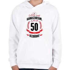 PRINTFASHION kamasz-50-black-red - Gyerek kapucnis pulóver - Fehér
