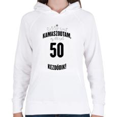 PRINTFASHION kamasz-50-black-white - Női kapucnis pulóver - Fehér