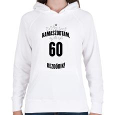PRINTFASHION kamasz-60-black-white - Női kapucnis pulóver - Fehér