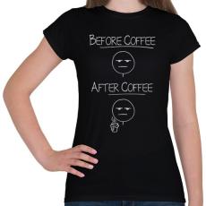 PRINTFASHION Kávé előtt, kávé után... - Női póló - Fekete