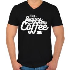 PRINTFASHION Kávé után kezdődik az élet  - Férfi V-nyakú póló - Fekete