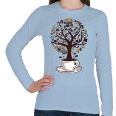 PRINTFASHION Kávéfa - Női hosszú ujjú póló - Világoskék