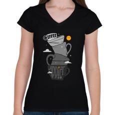 PRINTFASHION Kávéfüggő - Női V-nyakú póló - Fekete